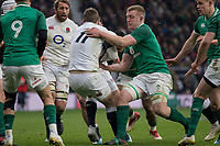 Twickenham, United Kingdom. Elliot DALY, caught with the ball,   Natwest 6 Nations : England vs Ireland. at the  RFU Stadium, Twickenham, England, <br />