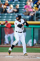 Kaleb Cowart (22) of the Salt Lake Bees bats against the El Paso Chihuahuas in Pacific Coast League action at Smith's Ballpark on May 1, 2017 in Salt Lake City, Utah.  Salt Lake defeated El Paso 9-4. (Stephen Smith/Four Seam Images)