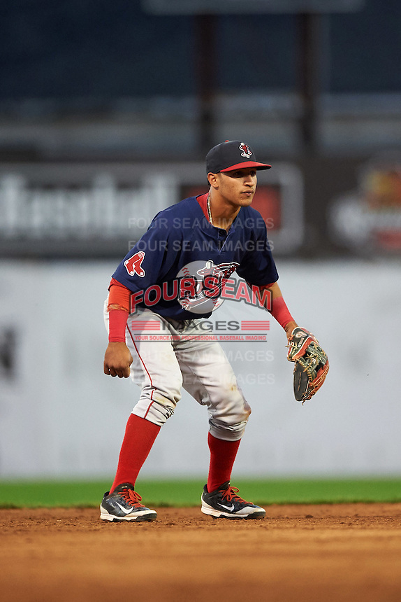 Lowell Spinners shortstop Jeremy Rivera (3) during a game against the Batavia Muckdogs on August 12, 2015 at Dwyer Stadium in Batavia, New York.  Batavia defeated Lowell 6-4.  (Mike Janes/Four Seam Images)