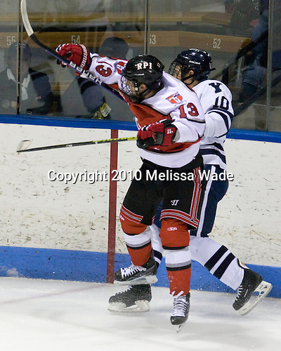 Joel Malchuk (RPI - 13), Kevin Limbert (Yale - 10) - The Rensselaer Polytechnic Institute (RPI) Engineers defeated the Yale University Bulldogs 4-0 on Saturday, January 30, 2010, at Ingalls Rink in New Haven, Connecticut.