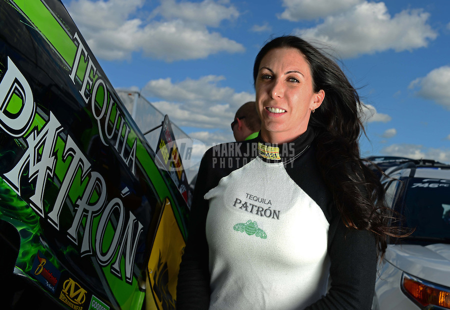 Sept 8, 2012; Clermont, IN, USA: NHRA funny car driver Alexis DeJoria during qualifying for the US Nationals at Lucas Oil Raceway. Mandatory Credit: Mark J. Rebilas-