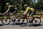 The peloton including Yellow Jersey leader Adam Yates (GBR) Mitchelton-Scott in action during Stage 5 of the Criterium du Dauphine 2019, running 201km from Boen-sur-Lignon to Voiron, France. 13th June 2019.<br /> Picture: ASO/Alex Broadway | Cyclefile<br /> All photos usage must carry mandatory copyright credit (© Cyclefile | ASO/Alex Broadway)