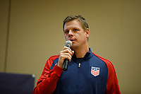 Bradenton, FL : Dave Van Der Bergh speaks to US Soccer athletes during a presentation in Bradenton, Fla., on January 4, 2018. (Photo by Casey Brooke Lawson)