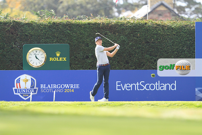 Sam Burns (USA) on the 15th tee during Day 2 Singles for the Junior Ryder Cup 2014 at Blairgowrie Golf Club on Tuesday 23rd September 2014.<br /> Picture:  Thos Caffrey / www.golffile.ie