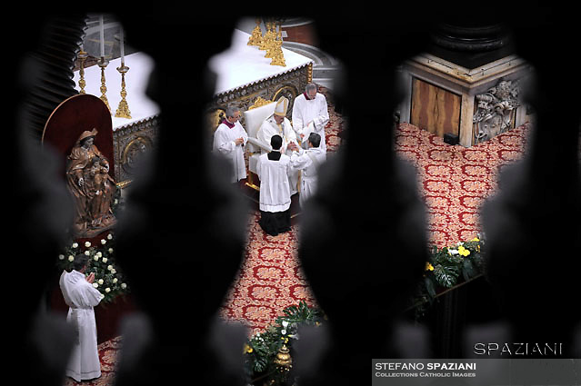 Pope Francis,ordained new priests ceremony  in St.Peter Basilica at the Vatican. April 17, 2016.