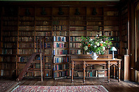 The library, so beloved by the bibliophile Pakenhams, has a concealed door leading to the dining room