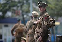 Men in World War I gear outside the Westbourne pub on St Helen's Road, Swansea, south Wales UK. Friday 01 July 2016