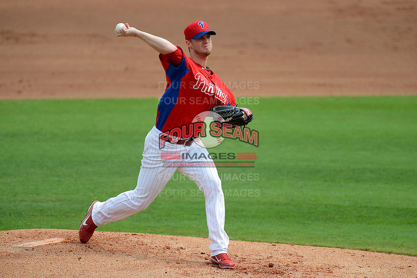 Philadelphia Phillies starting pitcher Kyle Kendrick #38 during a Spring Training game against the New York Yankees at Bright House Field on February 26, 2013 in Clearwater, Florida.  Philadelphia defeated New York 4-3.  (Mike Janes/Four Seam Images)