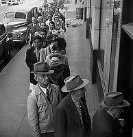 People wait in line for Housing Department, Los Angeles, 1950. CREDIT: JOHN G. ZIMMERMAN