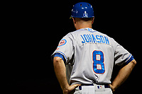 Tennessee Smokies manager Mark Johnson (8) during a game against the Birmingham Barons on August 16, 2018 at Regions FIeld in Birmingham, Alabama.  Tennessee defeated Birmingham 11-1.  (Mike Janes/Four Seam Images)