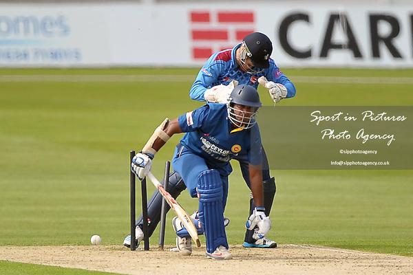 K Sangakkara (Sri Lanka) is bowled by Adam Ball (Kent) watched by Sam Billings (Kent, wicketkeeper) Kent v Sri Lana. 50 over tour match. The Spitfire Ground. Canterbury. Kent. England. UK. 16/05/2014. MANDATORY Credit Garry Bowden/SIPPA - NO UNAUTHORISED USE - 07837 394578