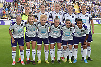 20190813 - ANDERLECHT, BELGIUM : Anderlecht's team with Justien Odeurs (13)   Britt Vanhamel (4)   Sheryl Merchiers (5)   Laura deneve (8)   Jana Coryn (9)   Stefania Vatafu (10)   Sarah Wijnants (11)   Laura deloose (14)  Mariam Abdulai Toloba (19)   Charlotte Tison (20)    pictured during the female soccer game between the Belgian RSCA Ladies – Royal Sporting Club Anderlecht Dames  and the Northern Irish Linfield ladies FC , the third and final game for both teams in the Uefa Womens Champions League Qualifying round in group 8 , Tuesday 13 th August 2019 at the Lotto Park Stadium in Anderlecht  , Belgium  .  PHOTO SPORTPIX.BE | DIRK VUYLSTEKE