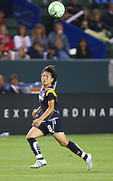 Aya Miyama #8 of the Los Angeles Sol chases a loose ball against Sky Blue FC during their WPS game at Home Depot Center on May 15, 2009 in Carson, California.
