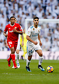 9th December 2017, Santiago Bernabeu, Madrid, Spain; La Liga football, Real Madrid versus Sevilla; Marco Asensio of Real Madrid Luis Muriel of Sevilla FC, in action