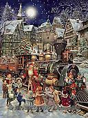 Interlitho-Simonetta, CHRISTMAS SANTA, SNOWMAN, WEIHNACHTSMÄNNER, SCHNEEMÄNNER, PAPÁ NOEL, MUÑECOS DE NIEVE, paintings+++++,santa,train,KL6110,#x#,nostalgic,victorian