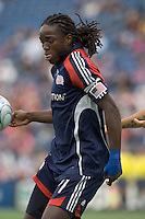 New England Revolution midfielder Shalrie Joseph (21) traps the ball. The New England Revolution out scored the Chicago Fire, 2-1, in Game 1 of the Eastern Conference Semifinal Series at Gillette Stadium on November 1, 2009.