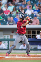 Nick Williams (4) of the Lehigh Valley Iron Pigs at bat against the Charlotte Knights at BB&T BallPark on June 3, 2016 in Charlotte, North Carolina.  The Iron Pigs defeated the Knights 6-4.  (Brian Westerholt/Four Seam Images)