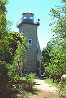 Lighthouse overlooking Lake Michigan.  Door County Wisconsin USA
