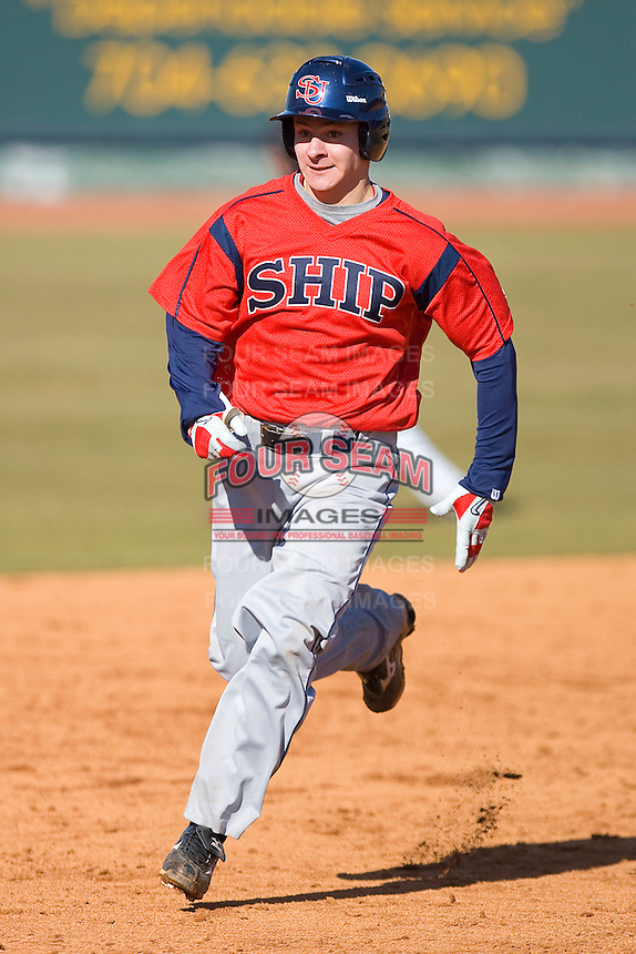 Steve Sulcoski #17 of the Shippensburg Red Raiders hustles towards third base versus the Catawba Indians on February 14, 2010 in Salisbury, North Carolina.  Photo by Brian Westerholt / Four Seam Images