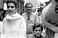 May 18, 1985 File Photo - Celine Dion (L) and Serge Laprade (R)attend the march for cystic fibrosis in Montreal streets.