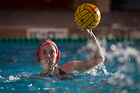 STANFORD, CA - February 4, 2018: Madison Berggren at Avery Aquatic Center. The Stanford Cardinal defeated Long Beach State 14-2.