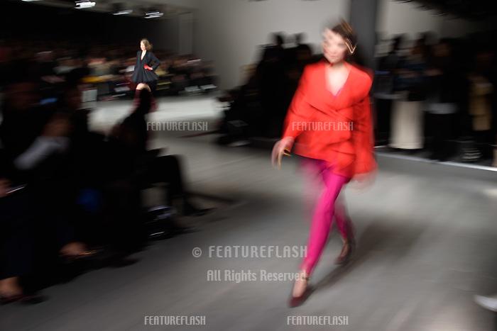 Model on the catwalk at the Marta Jakubowski show during London Fashion Week AW18, at the Freemasons' Hall in London, UK. <br /> 16 February  2018<br /> Picture: Steve Vas/Featureflash/SilverHub 0208 004 5359 sales@silverhubmedia.com