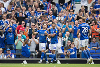 Myles Kenlock of Ipswich Town congratulates Luke Garbutt of Ipswich Town on his opening goal during Ipswich Town vs Sunderland AFC, Sky Bet EFL League 1 Football at Portman Road on 10th August 2019