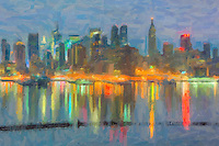 The Manhattan skyline during morning twilight as viewed over the Hudson River from New Jersey creatively modified to resemble a painting.  The image was creatively modified to resemble a painting.