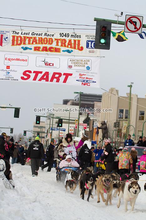2010 Iditarod Ceremonial Start in Anchorage Alaska musher # 31 DEEDEE JONROWE with Iditarider BEVERLEY NELMS