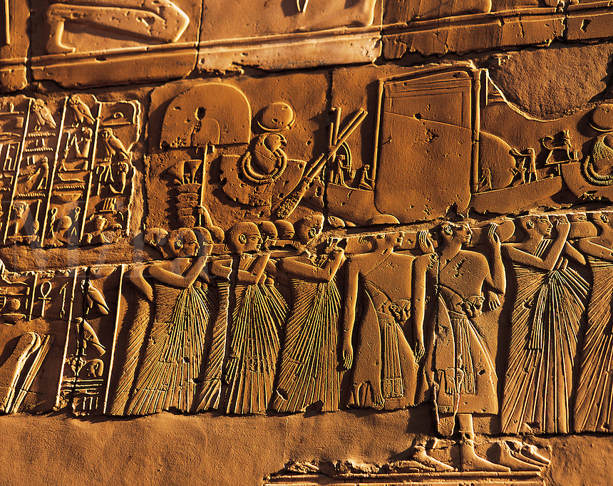 Carved stone relief at Katnak temple, Luxor, Egyp