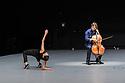 "Anne Teresa De Keersmaeker, Jean-Guihen Queyras and Rosas present ""Mitten wir im Leben sind/ Bach6Cellosuiten"" at Sadler's Wells. Picture shows: Marie Goudot (dancer) and Jean-Guihen Queyras (cellist)."