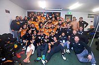The Jaguares pose for a group photo after the 2019 Super Rugby final between the Crusaders and Jaguares at Orangetheory Stadium in Christchurch, New Zealand on Saturday, 6 July 2019. Photo: Dave Lintott / lintottphoto.co.nz