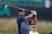 Tiger Woods (USA) tees off on the 17th hole during the first round of the 118th U.S. Open Championship at Shinnecock Hills Golf Club in Southampton, NY, USA. 14th June 2018.<br /> Picture: Golffile | Brian Spurlock<br /> <br /> <br /> All photo usage must carry mandatory copyright credit (&copy; Golffile | Brian Spurlock)
