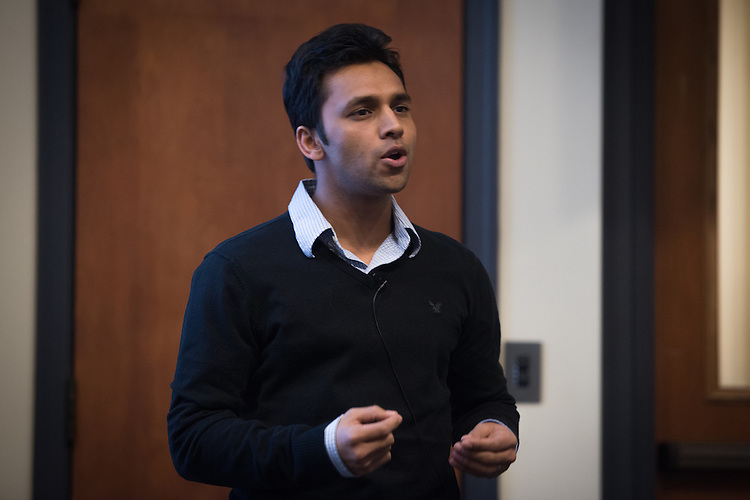 Manindra Singh presents his thesis during the 3 Minute Thesis Competition at the Stocker Center on February 15, 2017.