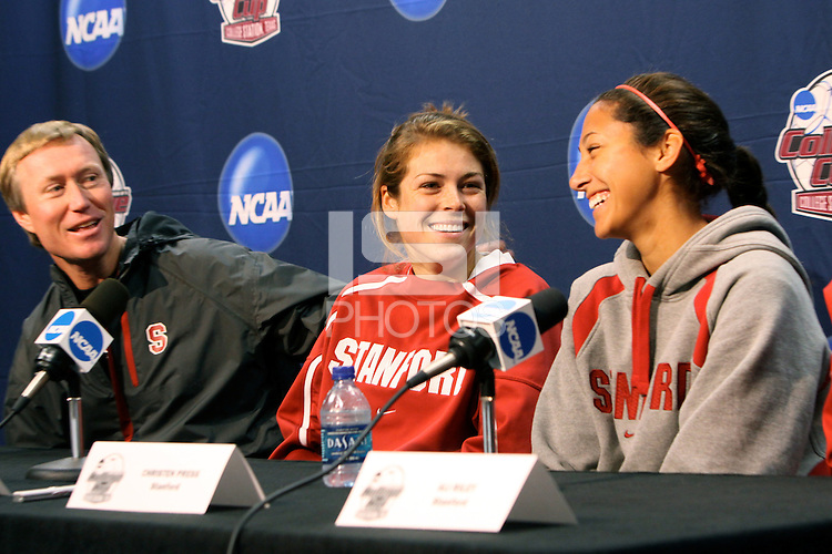 COLLEGE STATION, TX - DECEMBER 3:  Paul Ratcliffe, Kelley O'Hara, and Christen Press of the Stanford Cardinal during Stanford's trip to the NCAA Women's Soccer Championships on December 3, 2009 in College Station, Texas.