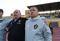 20200304  Parchal , Portugal : Belgian head coach Ives Serneels pictured with Belgian team manager Hubert De Neef  during the female football game between the national teams of New Zealand , known as the Football Ferns and Belgium called the Red Flames on the first matchday of the Algarve Cup 2020 , a prestigious friendly womensoccer tournament in Portugal , on wednesday 4 th March 2020 in Parchal , Portugal . PHOTO SPORTPIX.BE   DAVID CATRY
