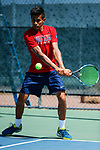 SURPRISE, AZ - MAY 12: Jorge Vargas of the Columbus State Cougars returns a ball against the Barry Buccaneers during the Division II Men's Tennis Championship held at the Surprise Tennis & Racquet Club on May 12, 2018 in Surprise, Arizona. (Photo by Jack Dempsey/NCAA Photos via Getty Images)