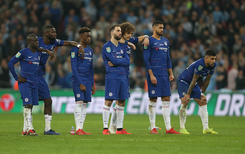 Chelsea line up during penalties<br /> <br /> Photographer Rob Newell/CameraSport<br /> <br /> The Carabao Cup Final - Chelsea v Manchester City - Sunday 24th February 2019 - Wembley Stadium - London<br />  <br /> World Copyright © 2018 CameraSport. All rights reserved. 43 Linden Ave. Countesthorpe. Leicester. England. LE8 5PG - Tel: +44 (0) 116 277 4147 - admin@camerasport.com - www.camerasport.com