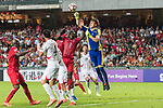 Goalkeeper Ri Myong Guk of Korea DPR (R) reaches for the ball after an attempt at goal by Hong Kong during the 2019 Asian Cup Qualifier match between Hong Kong and Korea DPR on June 13, 2017 in Hong Kong, China. Photo by Chris Wong / Power Sport Images.