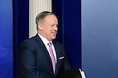 White House Press Secretary Sean Spicer arrives to hold his first briefing for the media in the Brady Press Briefing Room of the White House in Washington, DC on Monday, January 23, 2017.<br /> Credit: Ron Sachs / CNP
