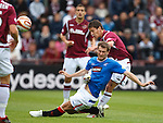 Kevin Thomson tackles Ian Black making contact with the Hearts player and is sent off for a reckless challenge