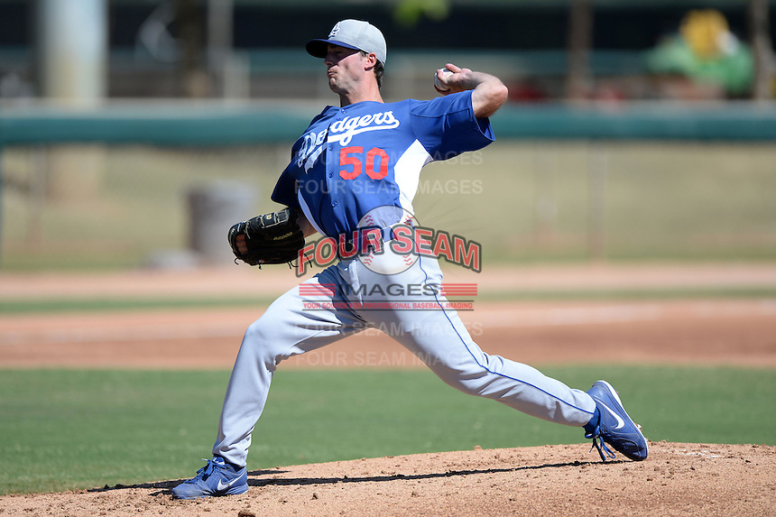 Los Angeles Dodgers pitcher Michael Johnson (50) during an Instructional League game against the Arizona Diamondbacks on October 8, 2013 at Camelback Ranch Complex in Glendale, Arizona.  (Mike Janes/Four Seam Images)