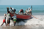 KOVALAM , fisherman , launching fishing boat,
