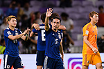 Nagatomo Yuto of Japan (C) celebrating after winning the AFC Asian Cup UAE 2019 Semi Finals match between I.R. Iran (IRN) and Japan (JPN) at Hazza Bin Zayed Stadium  on 28 January 2019 in Al Alin, United Arab Emirates. Photo by Marcio Rodrigo Machado / Power Sport Images
