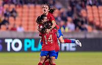 HOUSTON, TX - JANUARY 28: Priscila Chinchilla #14 of Costa Rica celebrates a goal with Katherine Alvarado #16 during a game between Costa Rica and Panama at BBVA Stadium on January 28, 2020 in Houston, Texas.
