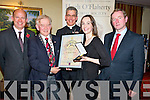 JOanne Joyce pictured as she accepted the 2012 Hugh O'Flaherty Humanitarian award for Sr Agnes Hunt in the Killarney Plaza hotel on Saturday nighth from Killarney Mayor Cllr Sean O'Grady. Also pictured are Dominick Chillott, British Ambassador, Papal Nuncio Charles Browne and Taoiseach Enda Kenny.....