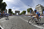 Fabien Wegmann (GER) Milram rounds the hairpin bend beneath the Arc de Triomphe at the end of the Champs Elysee during the final Stage 21 of the 2009 Tour de France running 164km from Montereau-Fault-Yonne to Paris Champs-Elysees, France. 26th July 2009 (Photo by Eoin Clarke/NEWSFILE)