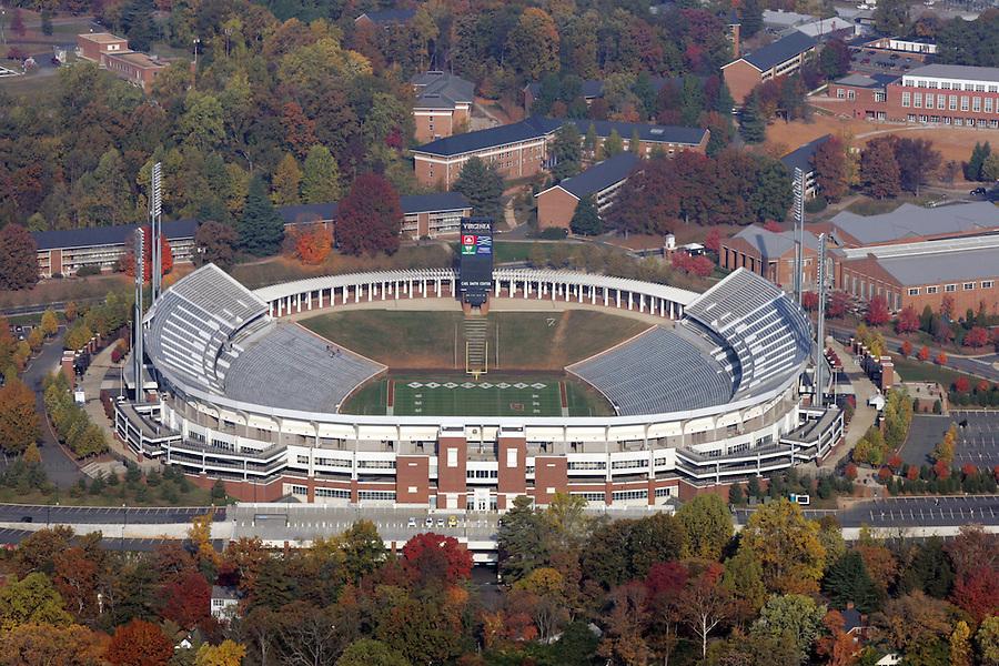 UVa football stadium, scott stadium, aerial