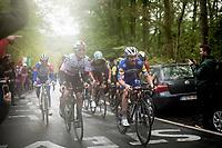 Michał Kwiatkowski (POL/SKY) & Julian ALAPHILIPPE (FRA/Deceuninck-Quick Step) up the last (categorised) climb of the day; the Côte de la Roche-aux-Faucons<br /> <br /> 105th Liège-Bastogne-Liège 2019 (1.UWT)<br /> One day race from Liège to Liège (256km)<br /> <br /> ©kramon