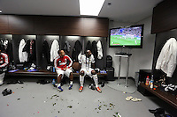 Pictured: (L-R) Wayne Routledge, Roland Lamah in the changing room. Sunday 24 February 2013<br /> Re: Capital One Cup football final, Swansea v Bradford at the Wembley Stadium in London.